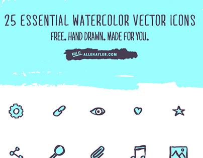 Free Watercolor Vector Icon Set