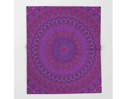 Purple Flower Mandala Throw Blanket