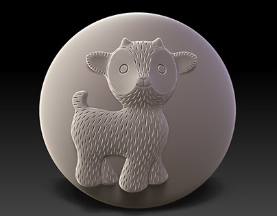 3D model of child's ball with bas-relief of Goatling