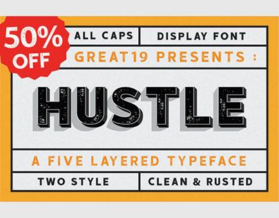 HUSTLE   5 layers vintage display font