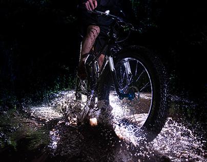 Night biking in the rain