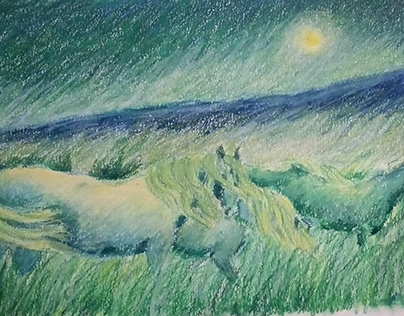 Oil pastels drawing Blue evening