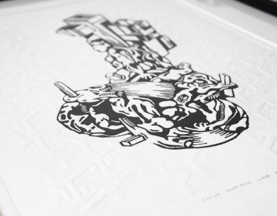 Lino Print - Esher Inspired