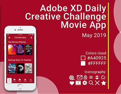 Adobe XD Daily Creative Challenge: Movie App (May 2019)