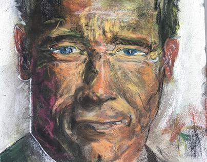 "Arnold 18x24"" Pastel, Canvas •Santa Monica '18"