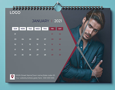 2021 New Year Desk Calendar Design Template