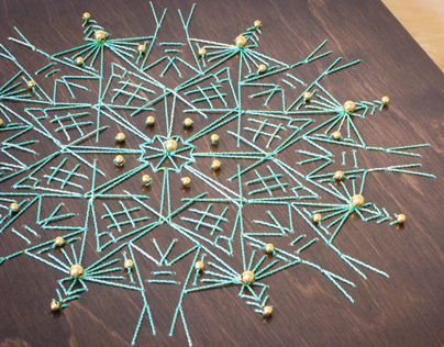 Wood Embroidery : Stitched Snowflake
