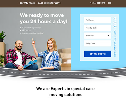 """Landing page for City Movers """"SOFTTRACK""""."""