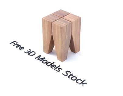 Backenzahn Wood Stool Free 3D Model