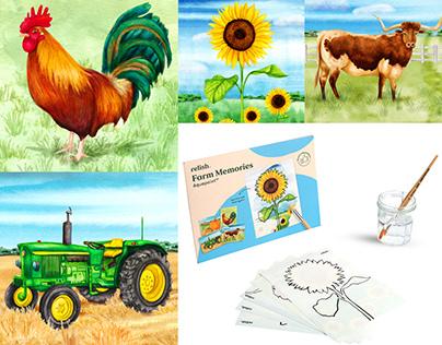 Farm Illustrations Aquapaint Dementia Activity Product