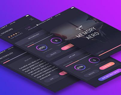 Memory Aero. iOS app + free UI kit