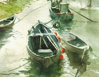 Boats - work based on watercolors of D.Curtis