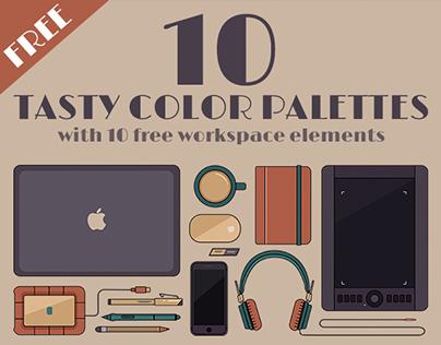 FREE 10 Flat Workspace Elements & Color Palettes
