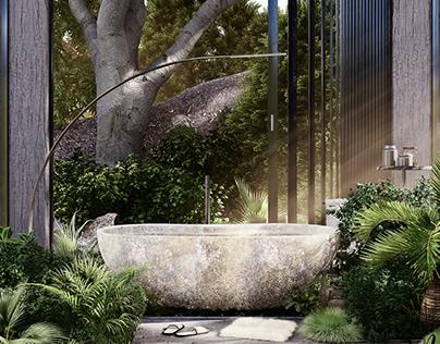Green Bathroom, Los Angeles by Mohammadreza Norouz