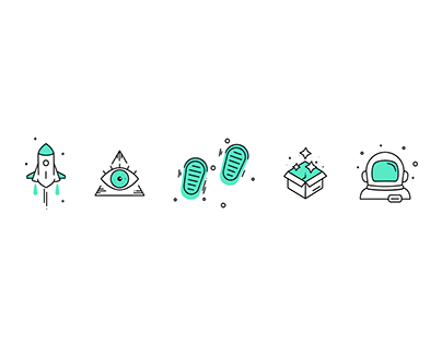 Icon design & animation. Space themed