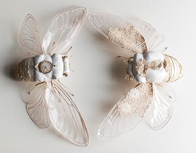 my cicadas textielart