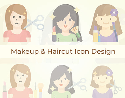 Various Beauty Parlour, Makeup and Haircut Icon Design