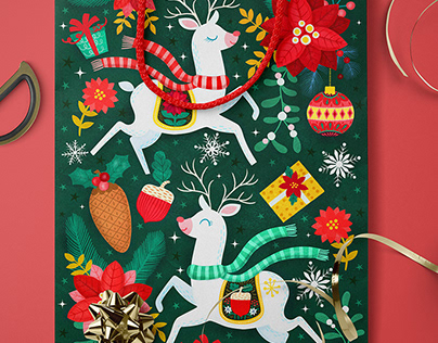 Christmas Reindeers Illustration and Placements