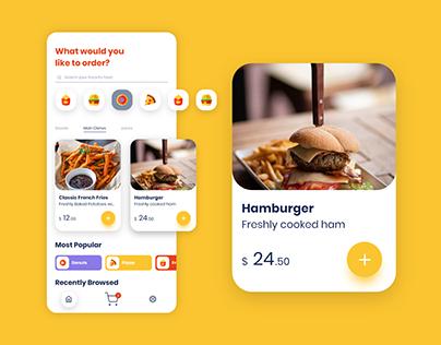 Mobile App UI Design in Adobe XD (Food Order App)