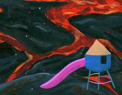 Backyard Volcano / Gouache illustration