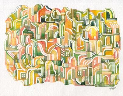 Watercolor - Into the Maze