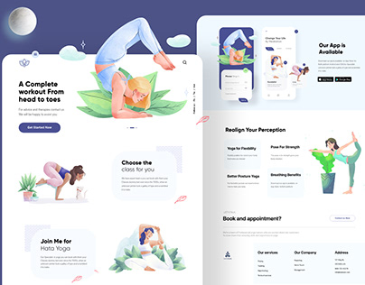Yoga Landing page and Mobile App Design