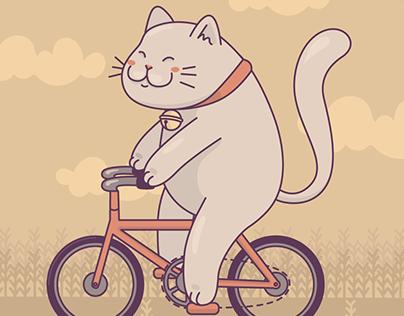 Lucky cat riding bike