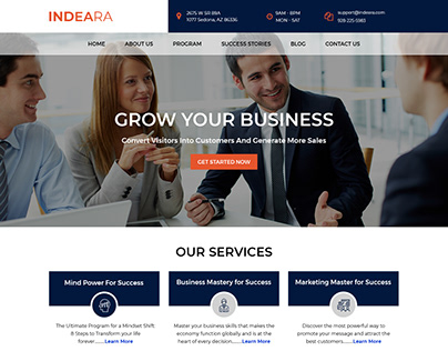 Indeara- Landing Page Design for a Business Coach