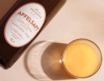 packaging design of seewiesn apple juice