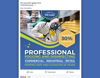 Disinfecting & Cleaning Services Social Media Template