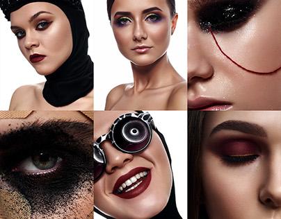 Beauty Women Faces with creative Makeup. Six Images Set