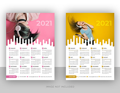 Business wall calendar design for music company