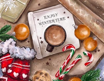 """Digital illustration """"Enjoy winter time"""" for calendar"""