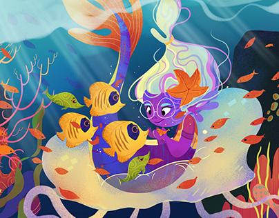 Purple purple Mermy Kidlit illustration