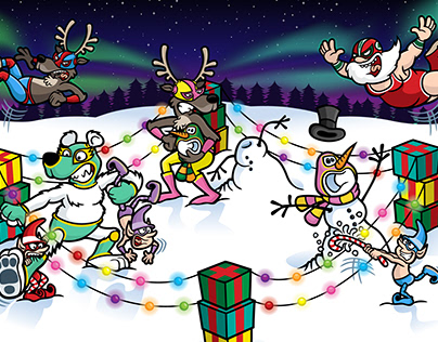 Wrestling Luchador Santa Christmas Illustration