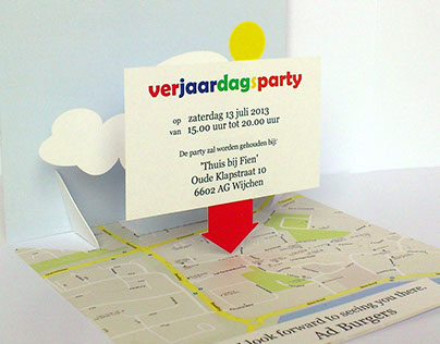 Map Pin Invitation Pop-Up Card