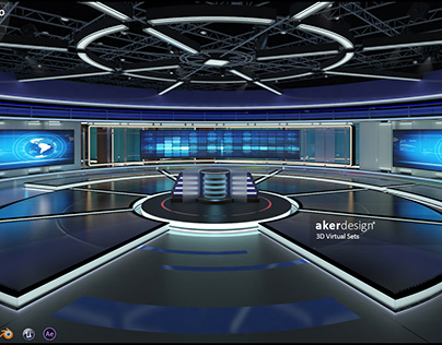 Virtual TV Studio News Set 31-2 - 3D Model Designs