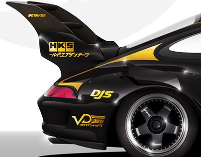 RWB Porsche vector illustration