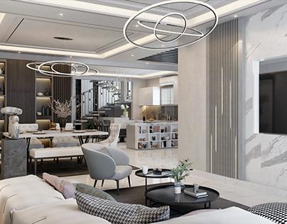 modern white design for basement