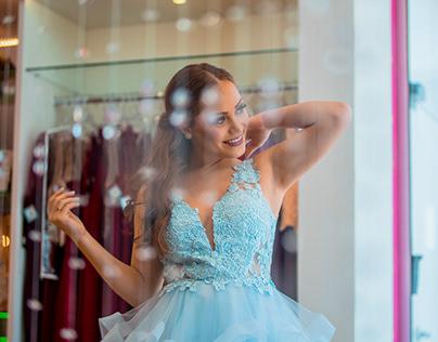 Fotografia e vídeo de moda. Loja de vestidos de festas