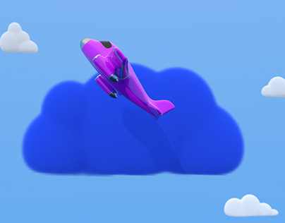 Plane with colored clouds