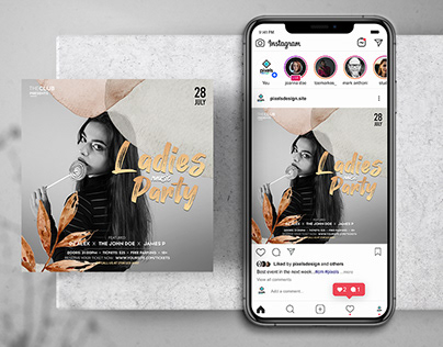 Ladies Music Party Free Instagram Banner Template (PSD)