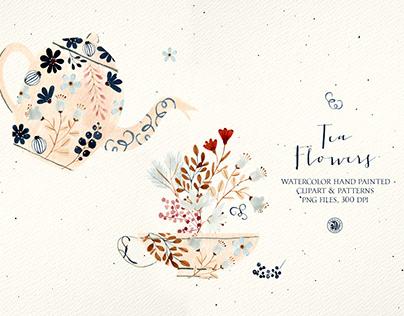 Tea Flowers - watercolor set