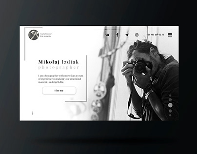 Landing page for Photographer