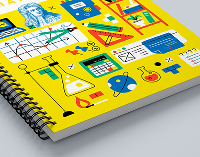 Notebook and sticker pack design for online school.