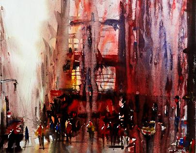 Paris atmospheric. Watercolor paintings