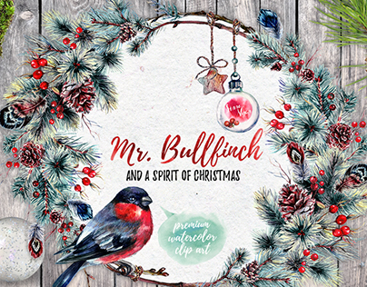 Mr. Bullfinch and a Spirit of Christmas Watercolor Pack