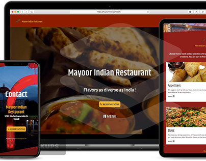 Mayoor Indian Restaurant website redesign.