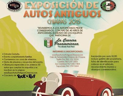 Cartel 1era. Exposición de Autos Antiguos Chiapas 2015