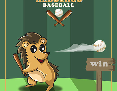 Hedgehog Baseball Illustration